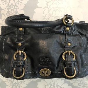 COACH Black Leather Double Top Handle Handbag